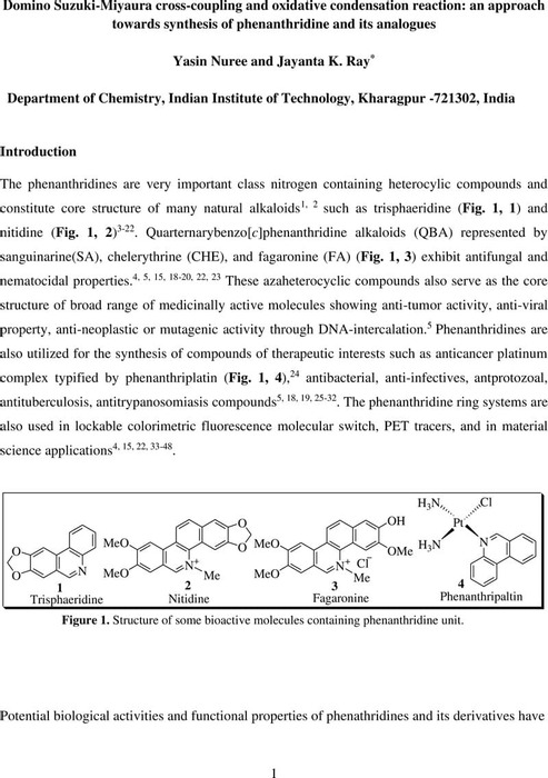 Thumbnail image of Domino Suzuki-Miyaura cross-coupling and oxidative condensation reaction an approach towards synthesis of phenanthridine and its analogues.pdf
