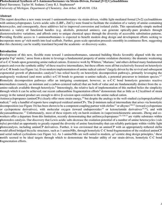 Thumbnail image of 170925.chemrxiv.photochemicalsynthesisof1aminoNBsviaformal32cycloadditions.pdf