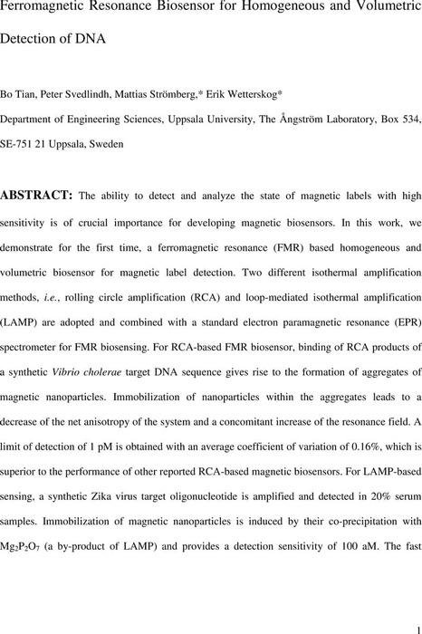 Thumbnail image of FerromagneticResonanceBiosensorforHomogeneousandVolumetricDetectionofDNA.pdf