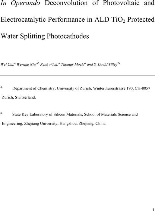 Thumbnail image of InOperandoDeconvolutionofPhotovoltaicandElectrocatalyticPerformanceinALDTiO2ProtectedWaterSplittingPhotocathodesv2.pdf