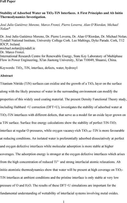 Thumbnail image of StabilityofAdsorbedWateronTiO2TiNInterfacesPREPRINT.pdf