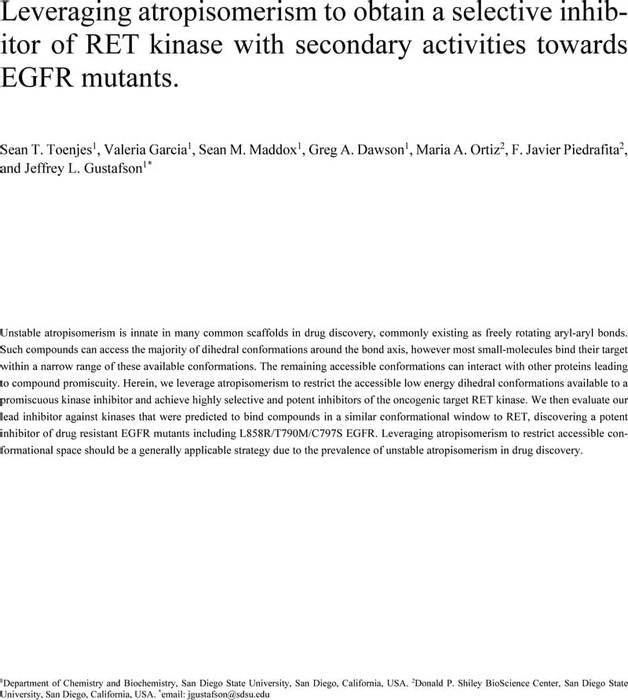 Thumbnail image of Leveraging atropisomerism to obtain selective kinase inhibitors.pdf