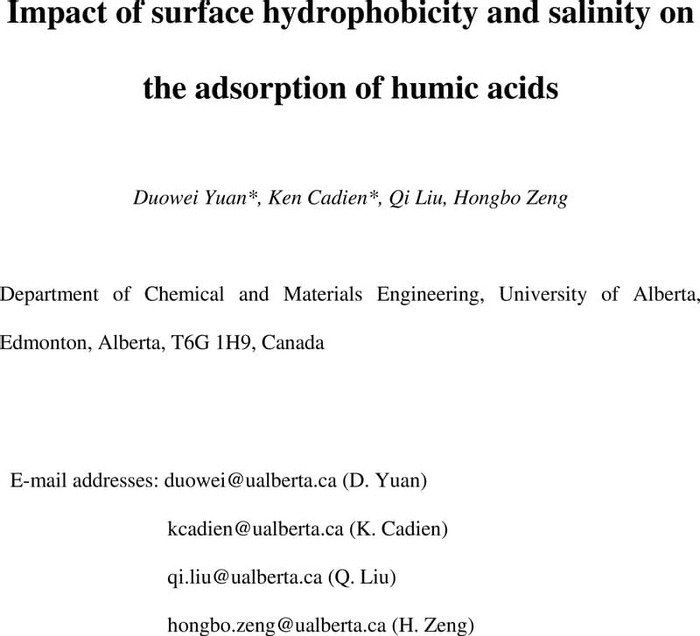 Thumbnail image of Impact of surface hydrophobicity and salinity on the adsorption of humic acids.pdf