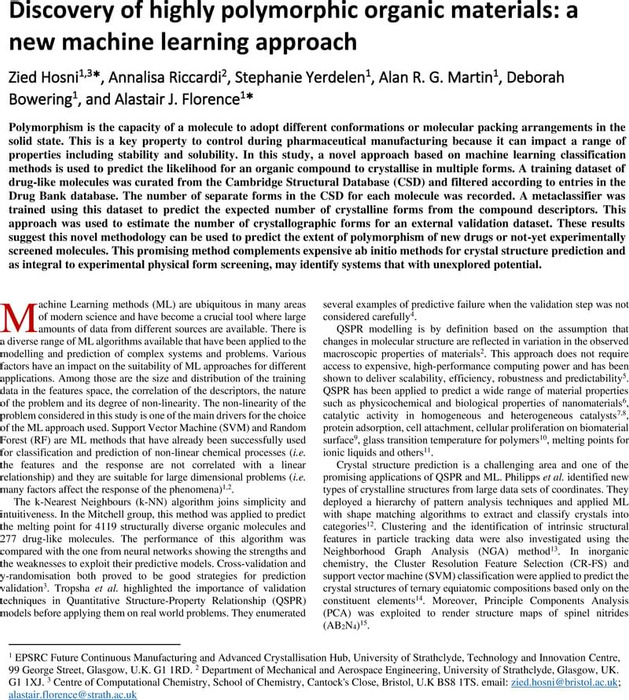 Thumbnail image of Machine learning-based approach to predict the polymorphability of organic compounds v11 chemxiv.pdf