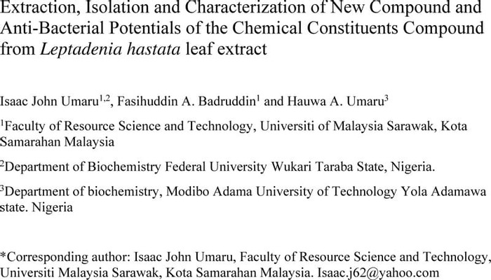 Thumbnail image of Isolation and Characterization(Hindawi) of four Pure Compound from Leptadenia hastata leaf extract.pdf