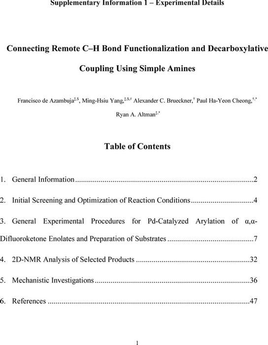Thumbnail image of SI 1 Experimental C-H functionalization.pdf