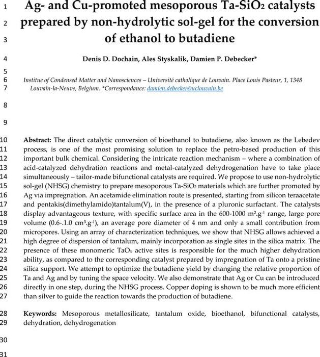 Thumbnail image of Debecker - NHSG Ag Cu TaSiO2 butadiene - Preprint.pdf
