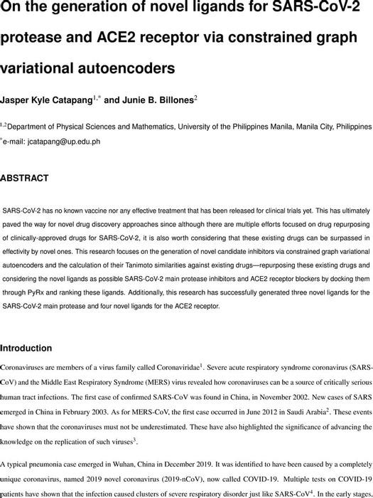 Thumbnail image of Novel ligands for SARS COV 2 and ACE2 via CGVAE.pdf