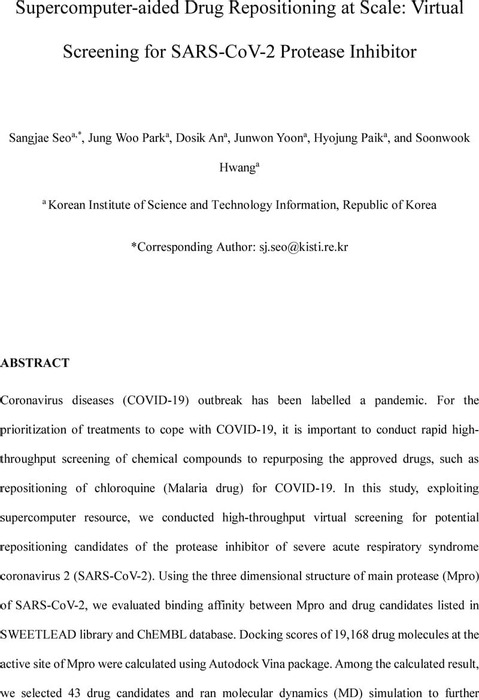 Thumbnail image of Supercomputer-aided Drug Repositioning at Scale Virtual Screening for SARS-CoV-2 Protease Inhibitor.pdf
