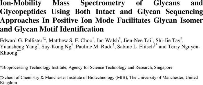Thumbnail image of Edward G Pallister Ion Mobility of Glycans SI chemrxiv.pdf