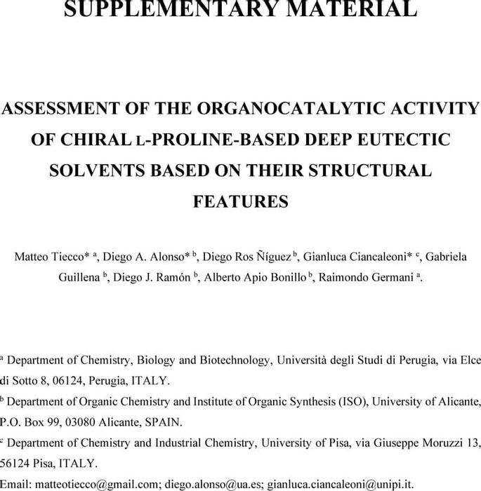 Thumbnail image of Supplementary Material_ASSESSMENT OF THE ORGANOCATALYTIC ACTIVITY OF CHIRAL L-PROLINE-BASED DEEP EUTECTIC SOLVENTS BASED ON THEIR STRUCTURAL FEATURES.pdf