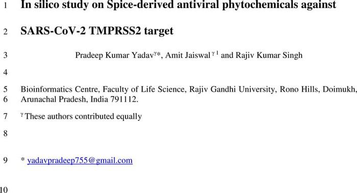 Thumbnail image of In silico study on Spice-derived antiviral phytochemicals against Sars-Cov-2 .pdf