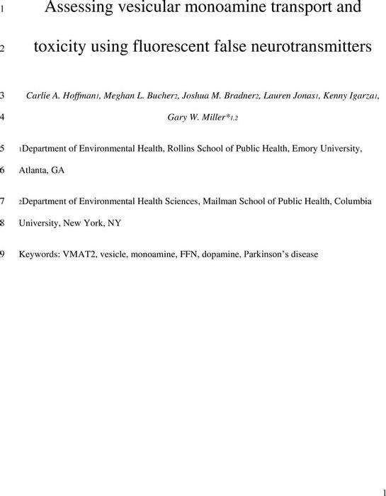 Thumbnail image of Hoffman et al. Assessing vesicular monoamine transport and toxicity using fluorescent false neurotransmitters.pdf