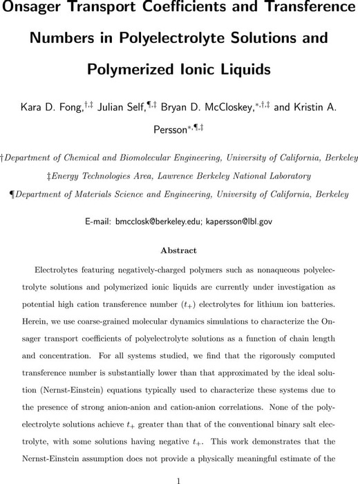 Thumbnail image of Onsager transport coefficients and transference numbers in polyelectrolyte solutions and polymerized ionic liquids.pdf