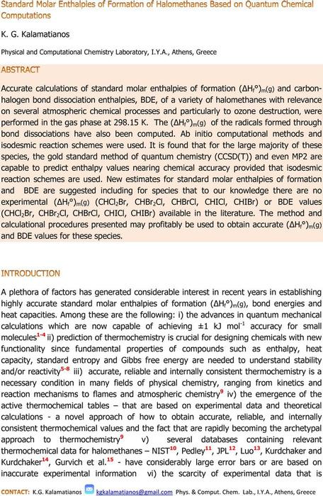 Thumbnail image of Heats of Formation of Halomethanes Based on Quantum Chemical Computations_290820.pdf