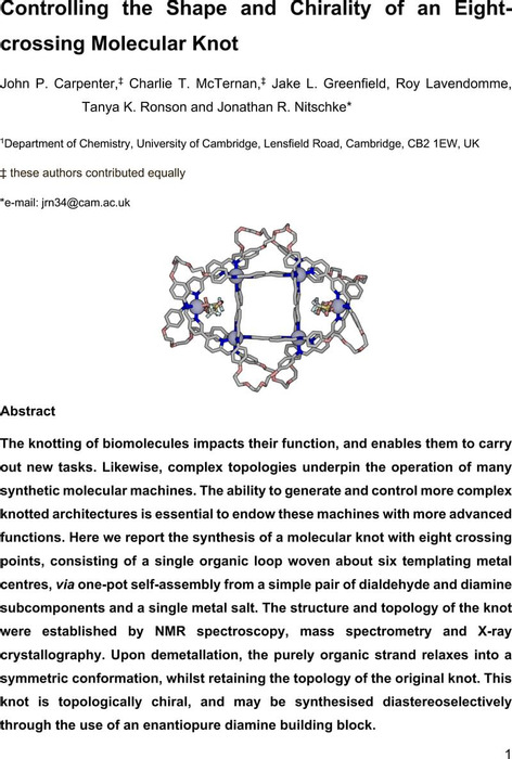 Thumbnail image of Controlling the Shape and Chirality of an Eight-crossing Molecular Knot.pdf