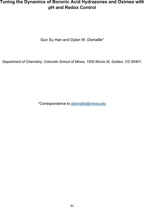 Thumbnail image of Tuning the Dynamics of Boronic Acid Hydrazones and Oximes with pH and Redox Control_SI.pdf