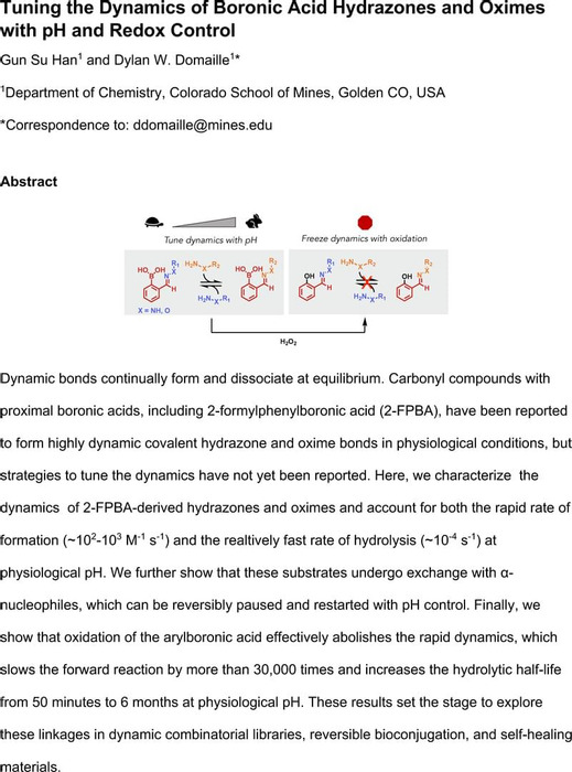 Thumbnail image of Tuning the Dynamics of Boronic Acid Hydrazones and Oximes with pH and Redox Control_manuscript.pdf