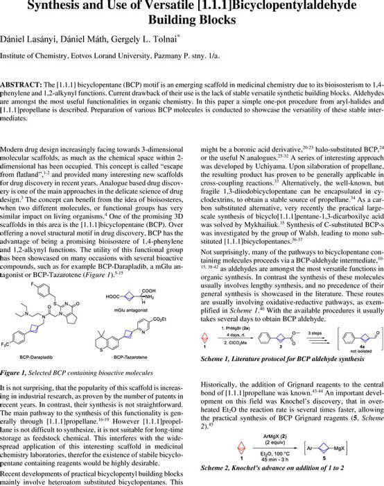 Thumbnail image of Synthesis and Use of Versatile [1.1.1]Bicyclopentylaldehyde Building Blocks_Chemrxiv.pdf