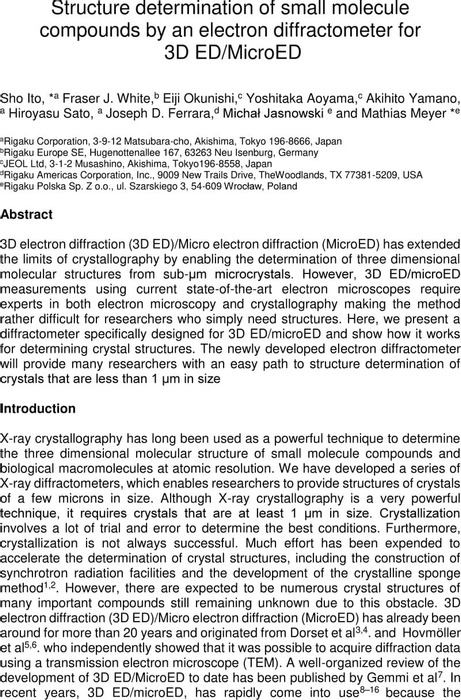Thumbnail image of final_CrystEngComm_Structure determination of small molecule compounds by an electron diffractometer 3D ED_MicroED.pdf